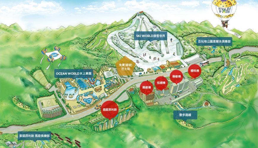 洪川大明滑雪場設施圖