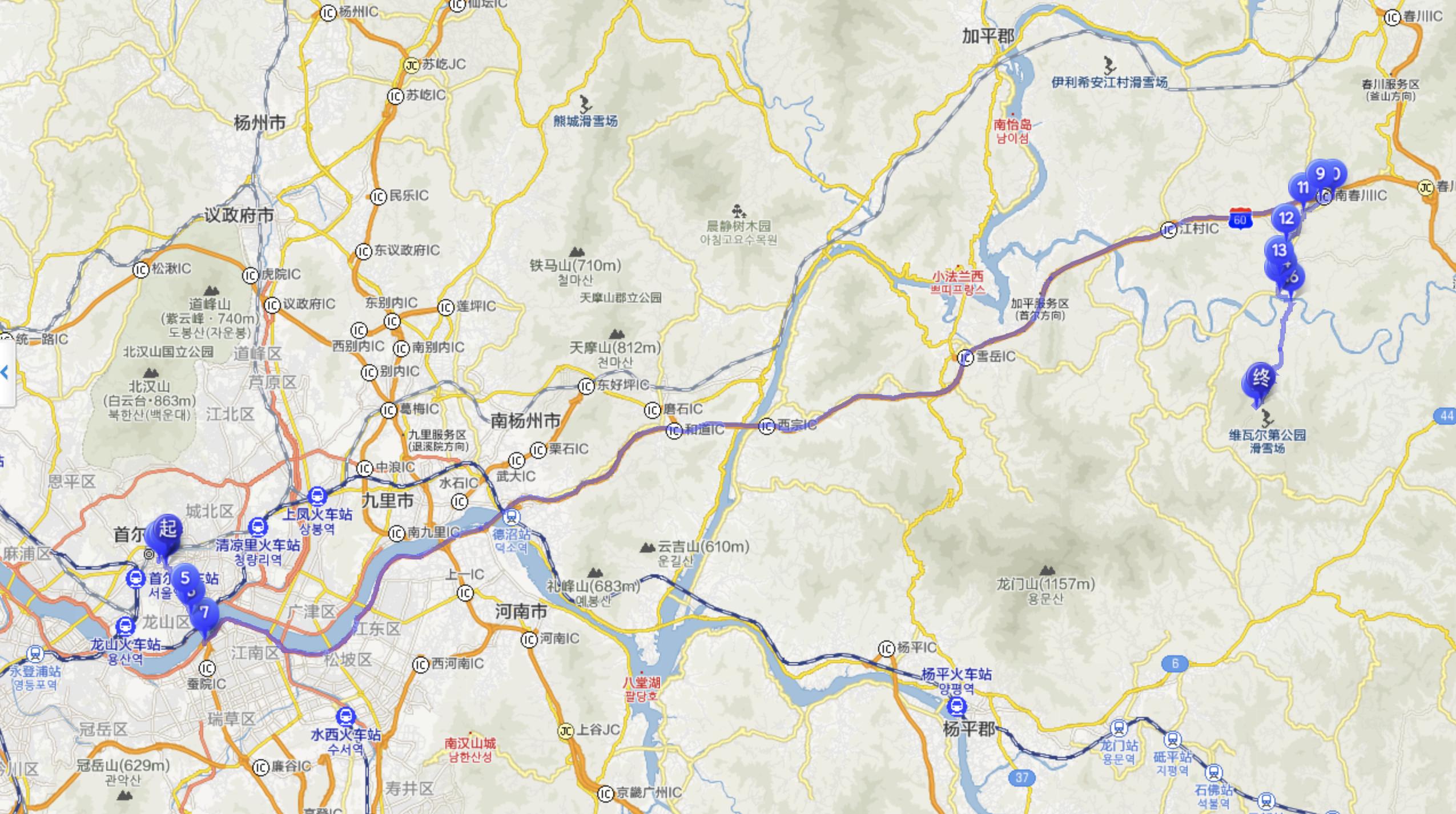 首爾市區-洪川大明滑雪場距離